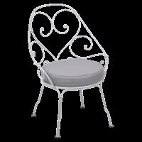Fauteuil CABRIOLET de Fermob, Coussin Gris flanelle, Blanc coton