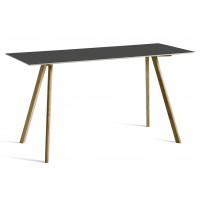 Table COPENHAGUE de Hay, 200 x 80 cm, Plateau linoléum noir, Pieds en chêne laqué mat
