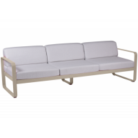 Canapé 3 places BELLEVIE de Fermob, Coussin blanc grisé, Muscade