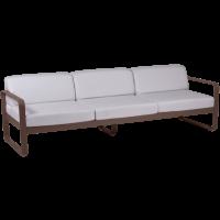 Canapé 3 places BELLEVIE de Fermob, Coussin blanc grisé, Rouille