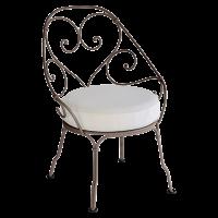 Fauteuil CABRIOLET de Fermob, Coussin blanc grisé, Rouille