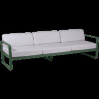 Canapé 3 places BELLEVIE de Fermob, Coussin blanc grisé, Vert cèdre