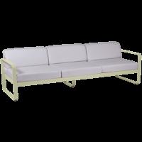 Canapé 3 places BELLEVIE de Fermob, Coussin blanc grisé, Tilleul