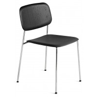 Chaise SOFT EDGE 10 de Hay, Chromed steel base, Black stained