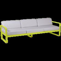 Canapé 3 places BELLEVIE de Fermob, Coussin blanc grisé, Verveine