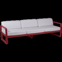 Canapé 3 places BELLEVIE de Fermob, Coussin blanc grisé, Piment