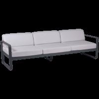 Canapé 3 places BELLEVIE de Fermob, Coussin blanc grisé, Carbone
