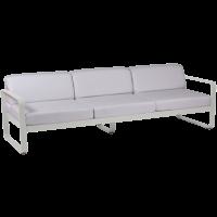 Canapé 3 places BELLEVIE de Fermob, Coussin blanc grisé, Gris métal