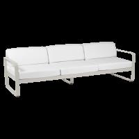 Canapé 3 places BELLEVIE de Fermob, Coussin Blanc grisé, Gris argile