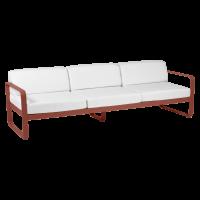 Canapé 3 places BELLEVIE de Fermob, Coussin Blanc grisé, ocre rouge