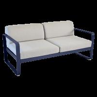 Canapé BELLEVIE de Fermob, Coussin Gris flanelle, Bleu abysse