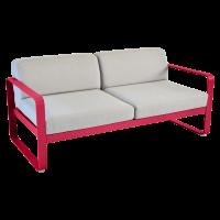 Canapé BELLEVIE de Fermob, Coussin Gris flanelle, Rose praline