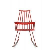 Chaise à bascule COMBACK de Kartell, Rouge orangé-chêne