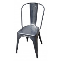 Chaise A de Tolix acier brut gris lasuré