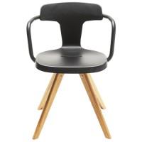 Chaise T14 de Tolix pieds chêne, noir