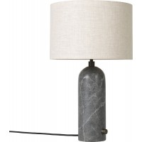 Lampe de table GRAVITY de Gubi, Gris marbré, Abat-jour canvas