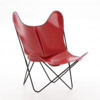 Fauteuil AA de Airborne, Structure en acier thermolaqué noir, cuir classique, Rouge