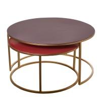 Set table basse gigogne AMALIA de Pols Potten, Rose et rouge foncé