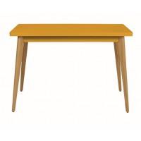 Table 55 Haute Pieds en Bois de Tolix, Jaune moutarde