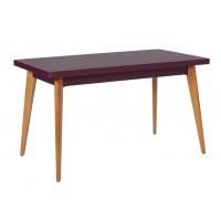 Table 55 pieds en bois de Tolix, Aubergine, 130 x 70