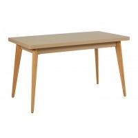 Table 55 pieds en bois de Tolix, Muscade, 130 x 70