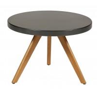 Table basse ronde K17 inox de Tolix, Ø 60cm, Gris martelé