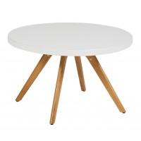 Table basse ronde K17 inox de Tolix, Ø 80 cm, Blanc