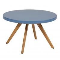 Table basse ronde K17 inox de Tolix, Ø 80 cm, Bleu provence
