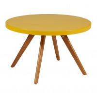 Table basse ronde K17 inox de Tolix, Ø 80 cm, Jaune moutarde