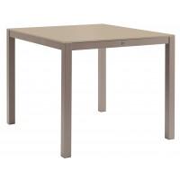 Table KWADRA avec dalle en verre de Sifas, moka, 100 x 90