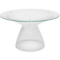 Table ronde HEAVEN de Emu,120 cm, Blanc mat / Verre transparent