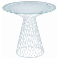 Table ronde HEAVEN de Emu, 80 cm Blanc mat / Verre transparent