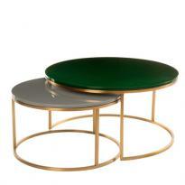 Set table basse gigogne GLOSSY de Pols Potten, Vert foncé et gris
