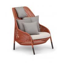 Fauteuil lounge AHNDA Elemental de Dedon, Avec coussin d'assise Twist sand