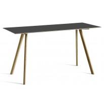 Table COPENHAGUE CPH30 200 X 80 X H.105 CM de Hay, Plateau linoléum noir, Pieds en chêne vernis naturel