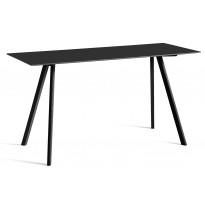 Table COPENHAGUE CPH30 200 X 80 X H.105 CM de Hay, Plateau linoléum noir, Pieds en chêne noir vernis naturel