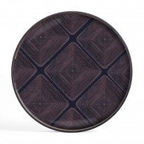 Plateau Midnight Linear Squares de Ethnicraft Accessories, Ø48
