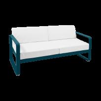 Canapé BELLEVIE de Fermob, Coussin Blanc grisé, bleu acapulco