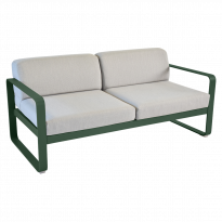 Canapé BELLEVIE de Fermob, Coussin Gris flanelle, Vert cèdre