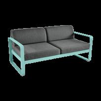 Canapé BELLEVIE de Fermob, coussin gris graphite, Bleu lagune