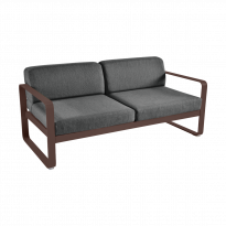 Canapé BELLEVIE de Fermob, coussin gris graphite, Rouille