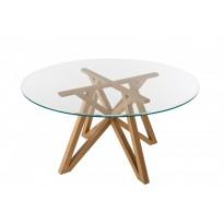 Table à manger CHELSEA en teck avec plateau en verre de Unopiu