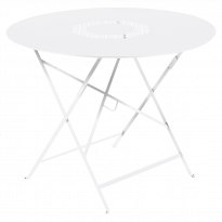 Table pliante ronde LORETTE de Fermob, Blanc coton, D. 96