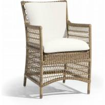 Chaise MALIBU de Manutti, structure cordage Camel, coussin d'assise Lotus Vanilla
