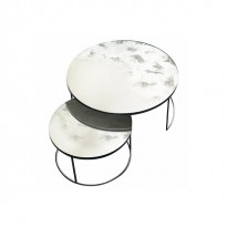 Set Round Nesting Coffee Table Clear - Heavy Aged Mirror de Ethnicraft Accessories