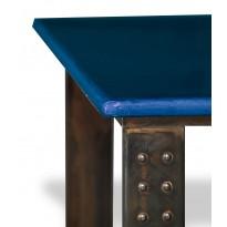 Table en pierre de lave émaillée pied atelier L.200 bleu de Castre