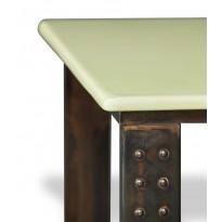 Table en pierre de lave émaillée pied atelier L.200 céladon