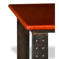 Table en pierre de lave émaillée pied atelier L.200 corail