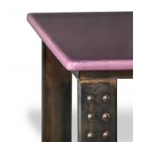 Table en pierre de lave émaillée pied atelier L.200 figue