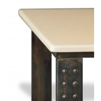 Table en pierre de lave émaillée pied atelier L.200 pierre